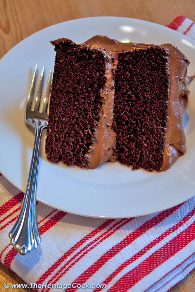Dark Chocolate Layer Cake with Luscious Chocolate Frosting © 2019 Jane Bonacci, The Heritage Cook