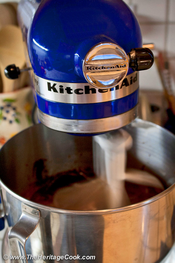 KitchenAid mixer in motion, mixing the chocolate cake batter; 2019 Jane Bonacci, The Heritage Cook