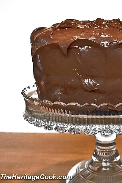 Dark Chocolate Layer Cake with Luscious Chocolate Frosting © 2019 Jane Bonacci, The Heritage Cook