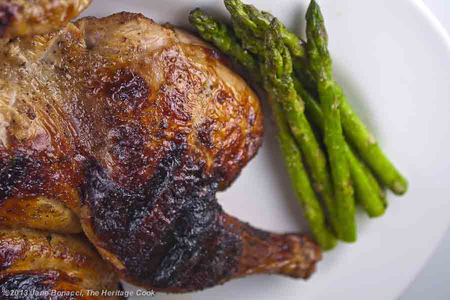 Grilled butterflied whole chicken with grilled asparagus rice