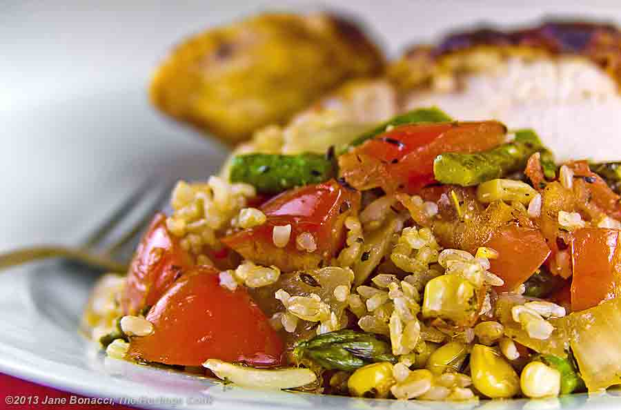 Rice made with grilled vegetables