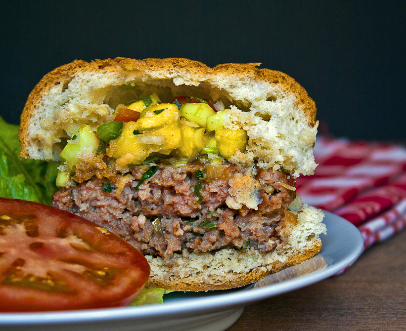 Caribbean Pork Burgers with Grilled Pineapple Salsa; The Heritage Cook © 2013