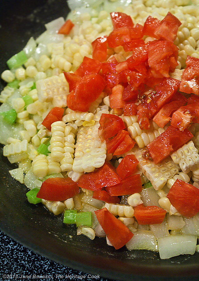 Fresh Corn & Tomato Salad; adding tomatoes to the skillet