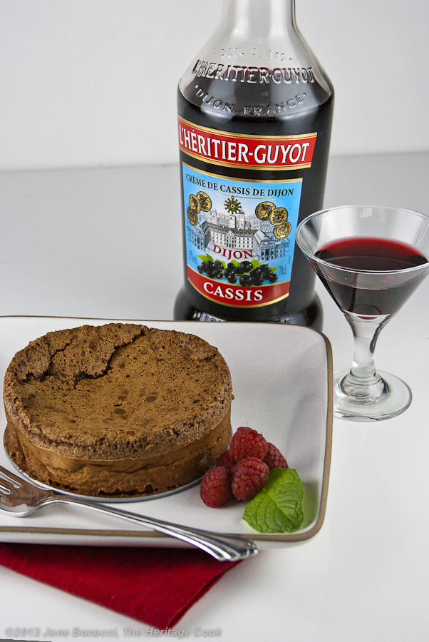 Cassis Chocolate Cake with glass of cassis liqueur