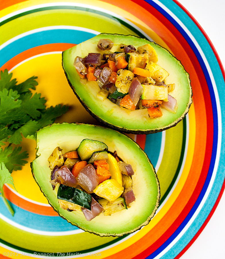 Vegetable-Stuffed Avocados, The Heritage Cook 2013