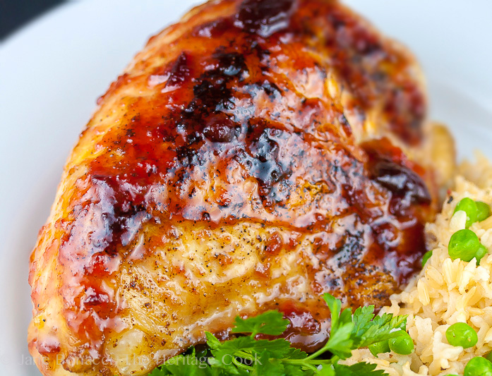 Ginger-Plum Glazed Chicken #GourmetGarden; 2014 Jane Bonacci, The Heritage Cook