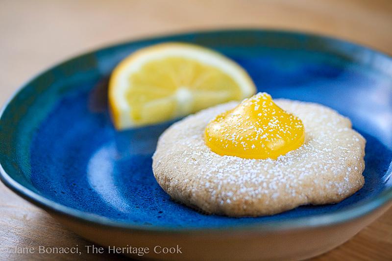 Meyer Lemon Shortbread Cookies with Meyer Lemon Curd (Gluten-Free); 2014 Jane Bonacci, The Heritage Cook