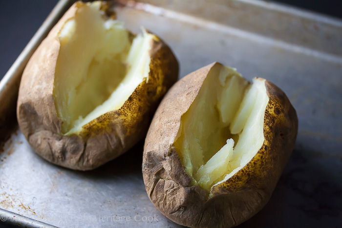 Basil Chicken & Bacon Stuffed Potatoes; 2014 Jane Bonacci, The Heritage Cook
