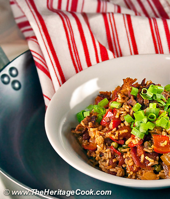 Tex-Mex Rice with Bacon; 2014 Jane Bonacci, The Heritage Cook