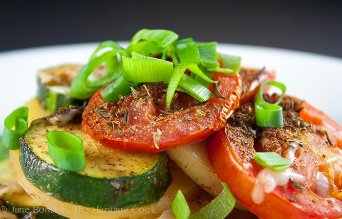 Summer Vegetable Gratin (Gluten-Free) for #SummerFest; 2014 Jane Bonacci, The Heritage Cook