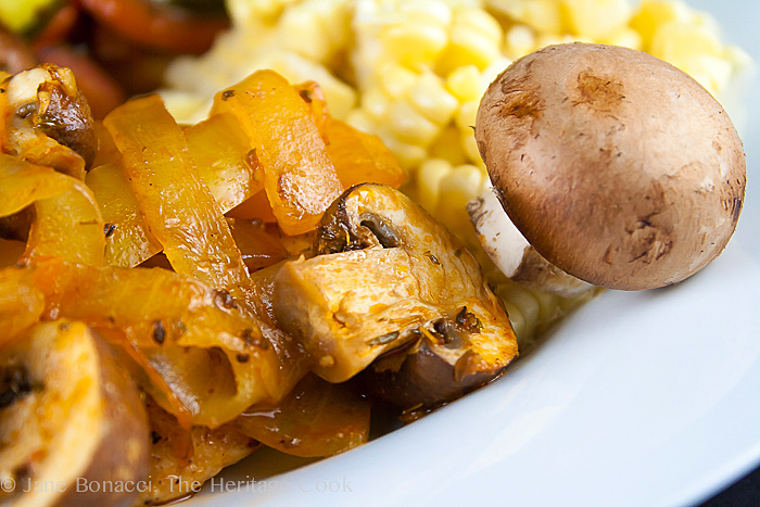 Chicken Marengo (Gluten-Free) Mushrooms and Bell Peppers close up © 2014 Jane Bonacci, The Heritage Cook
