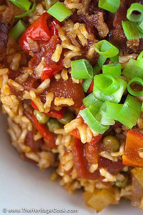 Tex-Mex Rice with Bacon; 2014 Jane Bonacci, The Heritage Cook