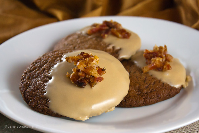 Chocolate-Maple Cookies with Candied Bacon (Gluten-Free); 2014 Jane Bonacci, The Heritage Cook