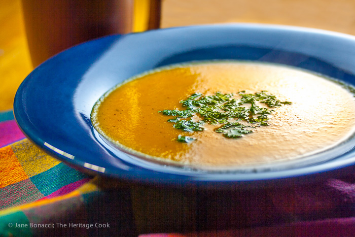 Beautiful and creamy roasted carrot and sweet potato soup