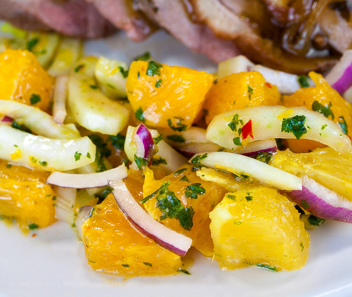 Orange duck breast, sliced and drizzled with a luscious orange pan sauce. Served with a refreshing citrus salsa that adds a pop of heat to any special occasion