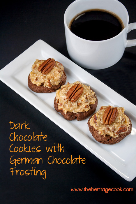 Dark Chocolate Cookies with German Chocolate Frosting, all the flavors of the traditional cake but with a crunchy cookie, addictive!