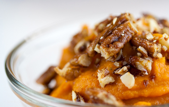 Candied pecans and almonds add the perfect crunchy bite to the maple whipped sweet potatoes, perfect for Thanksgiving!