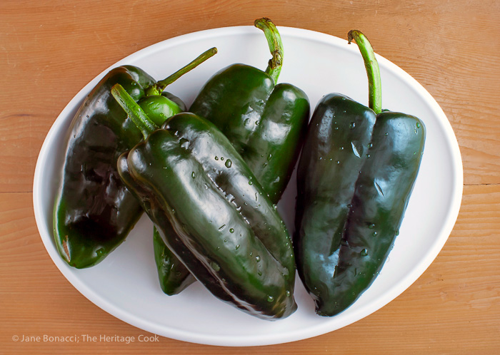 Plate of whole poblano peppers