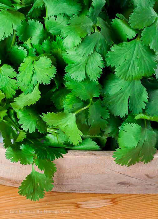 Fresh Cilantro; Mexican Arroz con Pollo Casserole; 2015 Jane Bonacci, The Heritage Cook