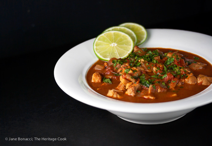 Ancho Chile Mole Soup with Chocolate; 2015 Jane Bonacci, The Heritage Cook