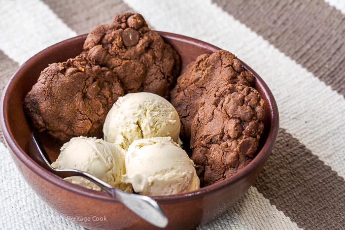 What better way to enjoy these rich dark chocolate cookies than with a bowl of vanilla gelato!