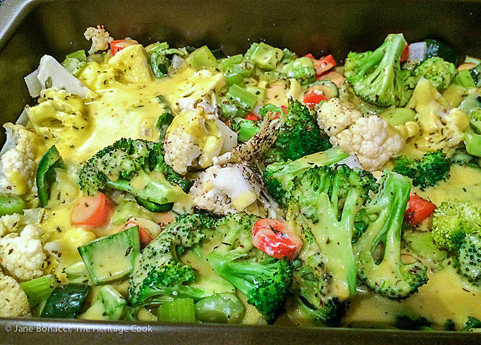 Broccoli and vegetables tossed with creamy, cheesy sauce in my New & Improved Chicken Divan; 2015 Jane Bonacci, The Heritage Cook