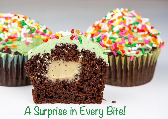 The surprise Irish cream filling; Irish Cream-Filled Chocolate Cupcakes for St. Patrick's Day; 2015 Jane Bonacci, The Heritage Cook