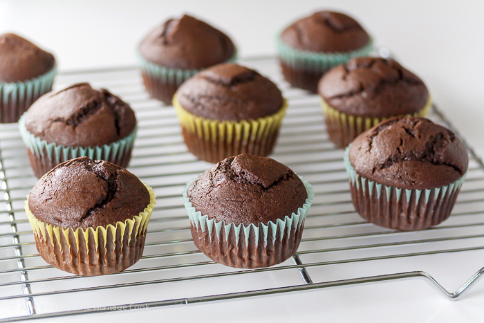 Hot from the oven - Irish Cream-Filled Chocolate Cupcakes for St. Patrick's Day; 2015 Jane Bonacci, The Heritage Cook