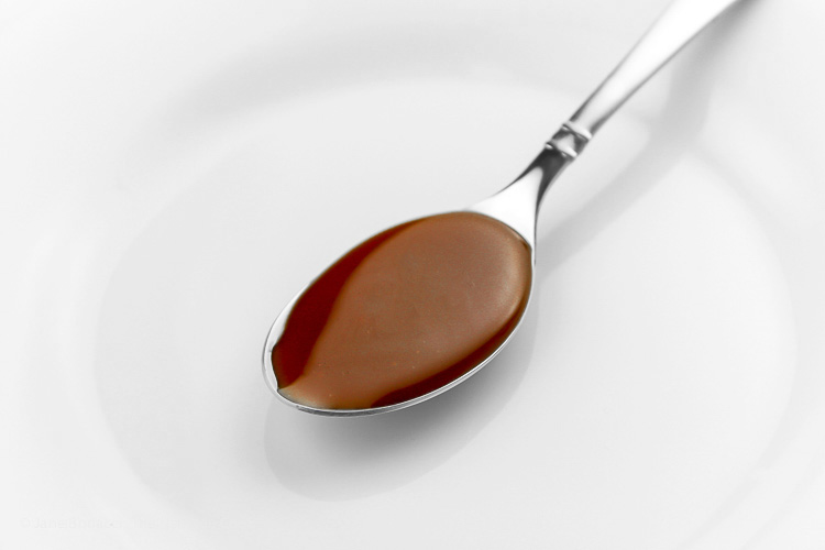 My favorite way to enjoy caramel sauce, straight from the spoon
