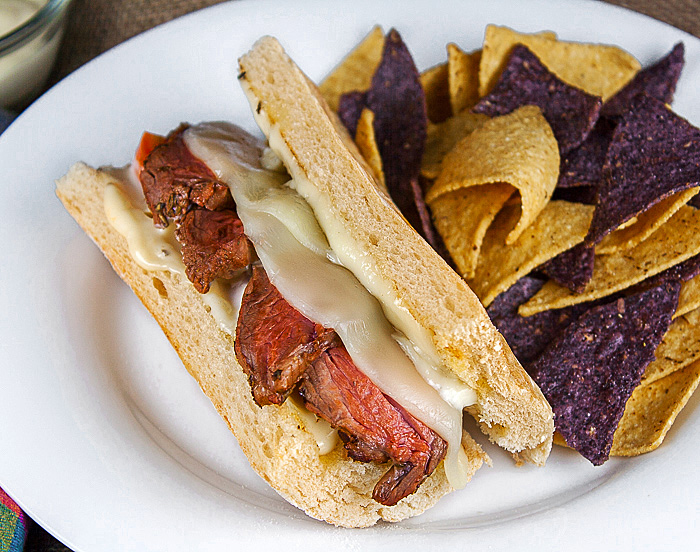 Cheesy Grilled Steak Sandwiches; 2015 Jane Bonacci, The Heritage Cook