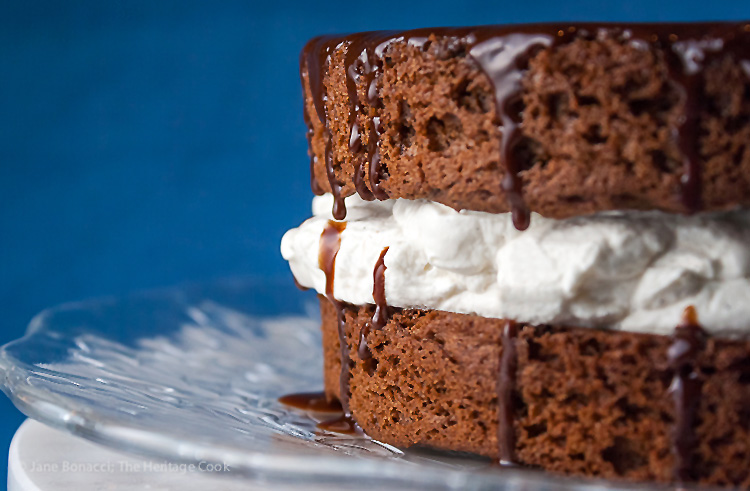 Light as air chocolate cake (gluten-free) with heavenly whipped cream filling; Chocolate Layer Cake with Whipped Cream Filling; © 2015 Jane Bonacci, The Heritage Cook