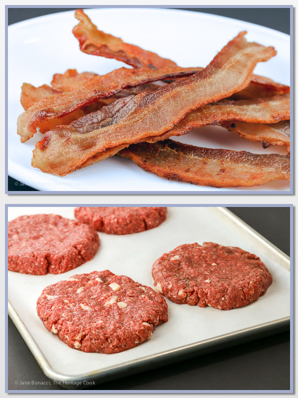 Bacon is a secret weapon for keeping ground buffalo moist when grilling; Santa Fe Green Chile Bacon Cheeseburgers; 2015 Jane Bonacci, The Heritage Cook