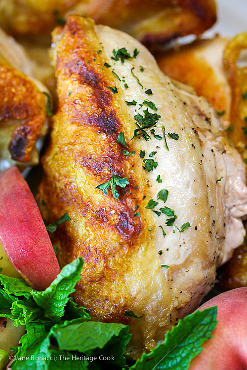 Beautifully grilled chicken breasts with Gourmet Garden parsley, perfect accompaniment to the Peach Chimichurri Sauce; 2015 Jane Bonacci, The Heritage Cook