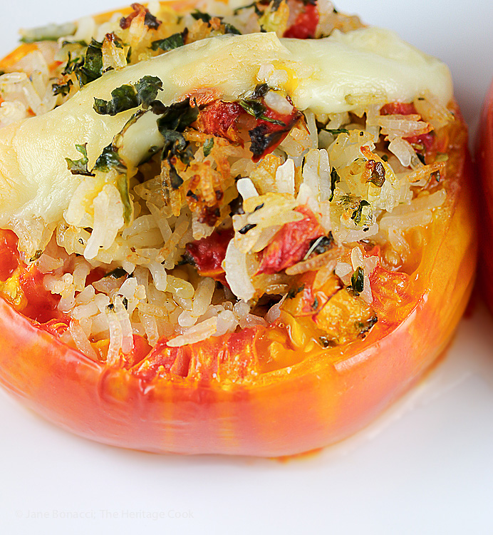 A little extra cheese melted over the top adds even more richness. Rice and Cheese Stuffed Roasted Tomatoes (Gluten-Free); 2015 Jane Bonacci The Heritage Cook
