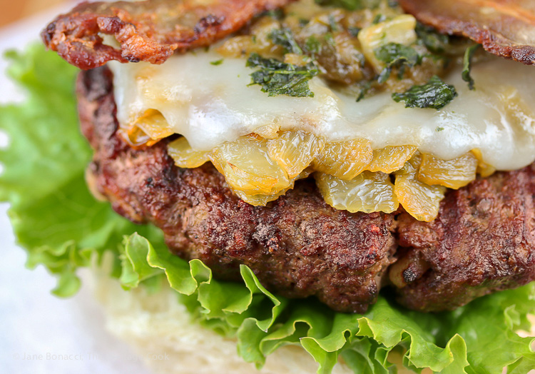Chopped green chiles caramelized with Vidalia = Flavor! Santa Fe Green Chile Bacon Cheeseburgers; 2015 Jane Bonacci, The Heritage Cook