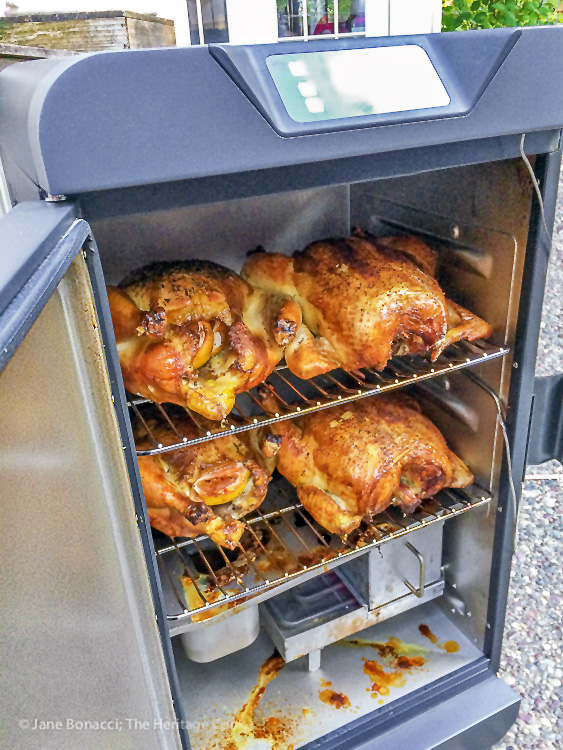 Chickens perfectly cooked in the smoker; Smoked Chicken Salad; Jane Bonacci, The Heritage Cook 2019