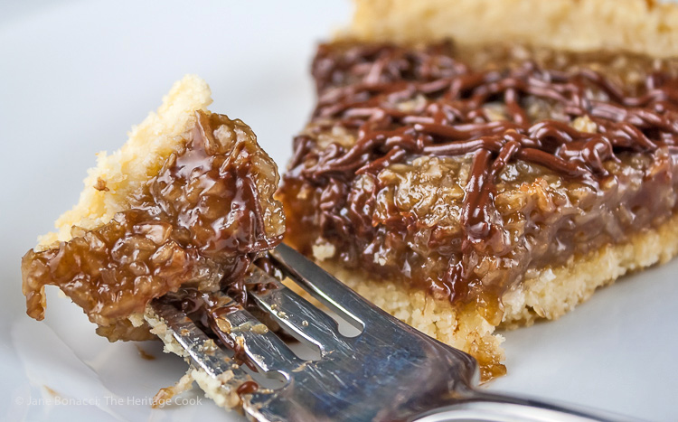 Take a Bite! Coconut Caramel Tart that tastes like a Samoa Cookie; © 2015 Jane Bonacci, The Heritage Cook