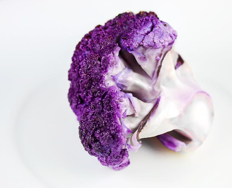 Single purple cauliflower floret; Roasted Whole Cauliflower with Sriracha Butter; 2015 Jane Bonacci, The Heritage Cook