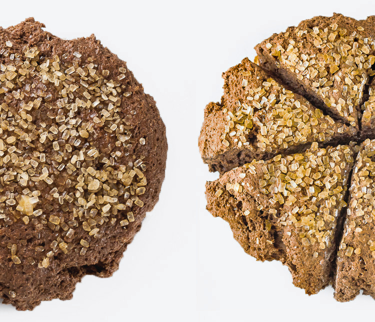 Raw dough and baked scones side by side; Double Chocolate Sugared Scones; 2015 Jane Bonacci, The Heritage Cook