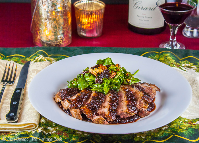 The perfect meal for any special occasion; Cherry Glazed Duck Breasts and Arugula Salad with Cherry Vinaigrette; © 2013 Jane Bonacci, The Heritage Cook