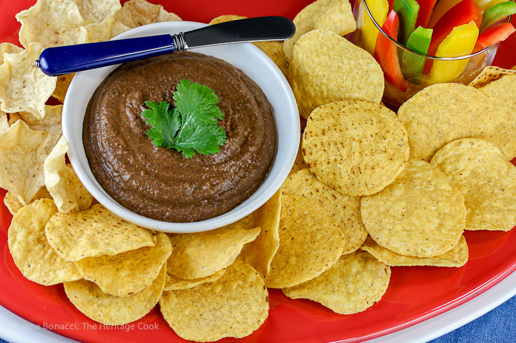 Chipotle Black Bean Dip for Super Bowl Sunday, Jane Bonacci, The Heritage Cook