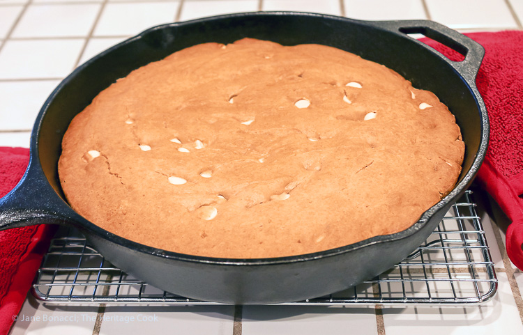 Hot from the oven - Chocolate Walnut Olive Oil Skillet Cookie Gluten Free Paleo SRC; © 2016 Jane Bonacci, The Heritage Cook
