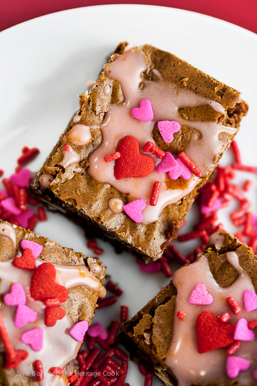 Valentine's Brownies with White Chocolate and Blood Orange Glaze (Gluten-Free); 2016 Jane Bonacci, The Heritage Cook