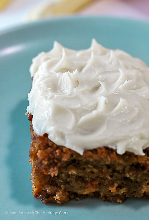 Luscious cream cheese frosting is the perfect topper; White Chocolate Studded Carrot Cake with Cream Cheese Frosting for Easter; © 2016 Jane Bonacci, The Heritage Cook