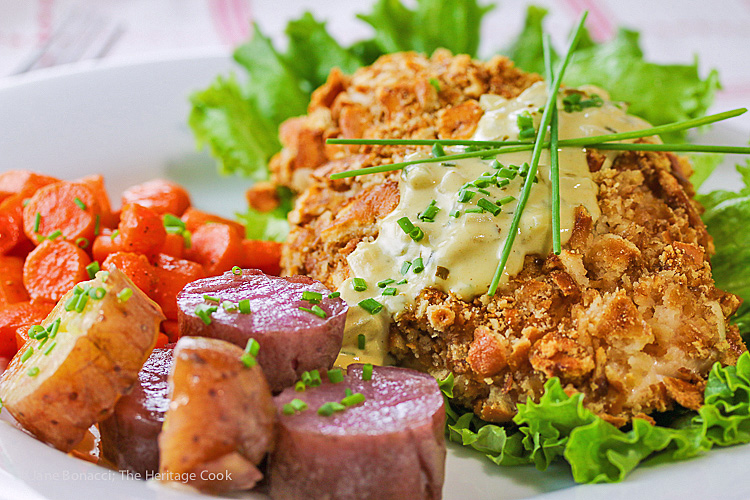 Gratify Foods' Pretzel-Crusted Chicken with Mustard Cream Sauce © 2016 Jane Bonacci, The Heritage Cook