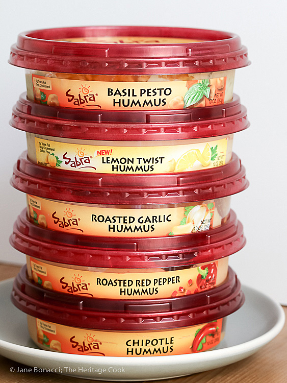 So many choices; Sabra's Unofficial Meal for Casual Gatherings; © 2016 Jane Bonacci, The Heritage Cook