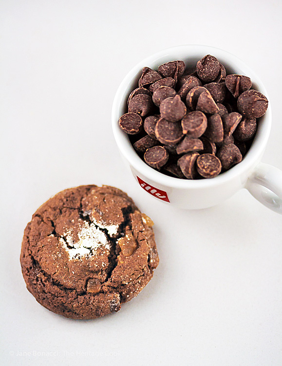 Cookie next to a cup of chocolate chips; © 2016 Jane Bonacci, The Heritage Cook