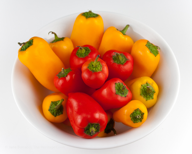 Mini bell peppers add sweetness and color; One slaw, 3 dressings - Make it your way; © 2016 Jane Bonacci