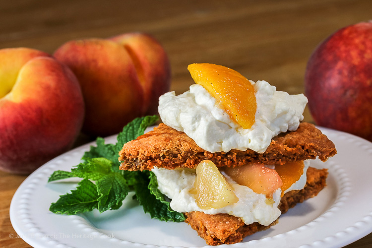 Pretty as a Peach Shortcake with homemade shortcake biscuits © 2016 Jane Bonacci, The Heritage Cook