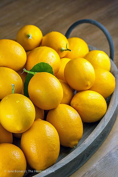 Plethora of fresh lemons; The World's Easiest Lemon Curd Parfaits (Gluten-Free); 2016 Jane Bonacci, The Heritage Cook